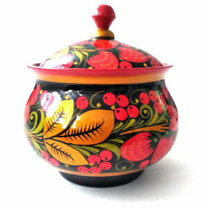 Bowl Decorative Wooden Russian Khokhloma Hand-painted Handmade New 1 pc