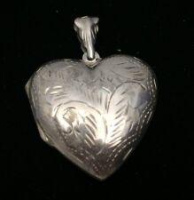 Vintage Sterling Silver Engraved Floral Large Heart Locket