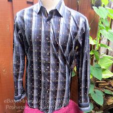 Bugatchi Uomo Shaped Fit Button Front Plaid Striped Shirt Men's Size S Gold