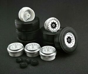 1/43 Wheels set for Euro Trailer / truck (tire + rim+hub) - Maestro Wheels