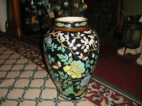 Chinese Japanese Vase Flowers Butterfly Painted Vase Brilliant Colors