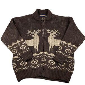 Seven Oaks Canada Full Zip Cardigan Adult Brown Large Ugly Sweater Reindeer
