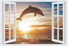 Dolphin & Sunset Ocean Window View Color Wall Sticker Wall Mural Print