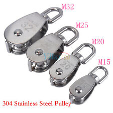 304 Stainless Steel Single Wheel Swivel Pulley Block Lifting Rope M15/20/25/32 W