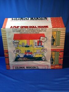 SUPER RARE Marx Toys Flip Open Doll House Colonial Mansion