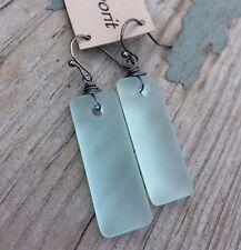 Min Favorit Seafoam Sea Glass Rectangle Drop & Gunmetal Silver Artisan Earrings