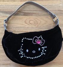 Vintage Black Velvet Studded/Embroidered Hello Kitty Handbag Purse