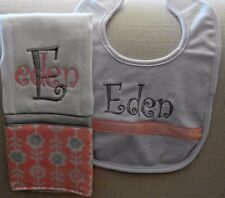 Grey and Pink Personalized Embroidered Burp Cloth and Bib Set - Great Gift Idea!