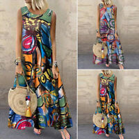 ZANZEA Women Sleeveless Long Shirt Dress Summer Vintage Ethnic Maxi Dress Plus