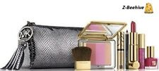 NIB Estee Lauder Michael Kors Cosmetic Color Set & MK Cosmetic Bag Gunmetal Gray