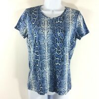 Chicos Womens T Shirt Size Small Stretchy Snake print Blue Chico size 0