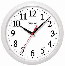 "Westclox 461761 Plastic Round Wall Clock, 10"", White"