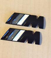 2 x ///M Sport Tech Metal Black Matte M Power Side Wing Badge High Quality