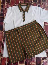 Vintage Jantzen White Green Polo Shirt Size Large w/ Short Pants Size 38