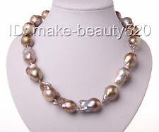 stunning big 30mm baroque purple keshi reborn freshwater pearl necklace s1875