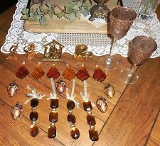 Gold & Amber Crystal Bejeweled Eggs 21pc Candle Holder Ornament Christmas Lot 73