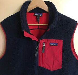 Patagonia mens classic retro x sherpa fleece vest L large navy red