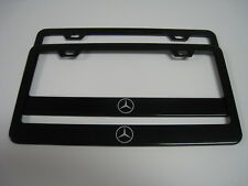 "2 Brand New MERCEDES ""LOGO"" BLACK Stainless License Plate Frame Front&Rear"