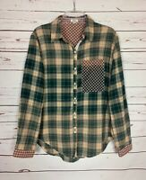 POL Anthropologie Women's M Medium Plaid Long Sleeve Button Fall Top Shirt Tunic