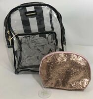 NEW WOMEN'S GIRL RAMPAGE BACKPACK & makeup Large Clear Black Sparkle Bag Purse