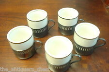 Set of 5 coffee cups ceramic and silverplate, made in Brazil[*small]