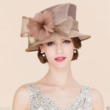 Hat Women's Kentucky Derby Church Wedding Noble Dress linen feather Sinamay hats