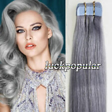 7A Seamless Tape in Skin Weft Remy Human Hair Extensions Silver Gray 16/24Inch