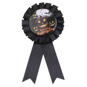 Happy Halloween Pumpkin Satin Award Rosette Badge Brooch Party Favour Gift