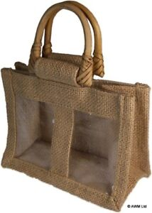 5 x Two Small Jar Jute Gift Bag - Natural Gift Bags With Handles And Window