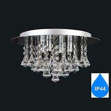 AUROLITE Genuine CRYSTAL Glass IP44 Bathroom 4 Lights Semi Flush Ceiling Light