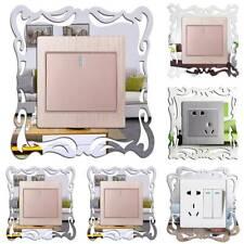 Interruptor de Luz de Espejo de Plata Marco de Funda de Sonido Envolvente Pared Adhesivo Decoración Hogar SHR