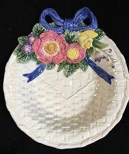 Fitz & Floyd Bustles & Beaus Easter Dish Basket Weave Blue Ribbon Spring Flower