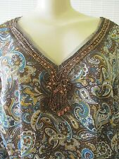 METRO 7 FLORAL PRINT EMBELLISHED LONG SLEEVE TOP SIZE 16 W - NEW