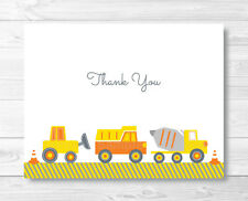 Yellow Construction Trucks Thank You Card Printable