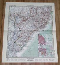 1932 ORIGINAL VINTAGE MAP SOUTHERN BRAZIL RIO DE JANEIRO ARGENTINA BUENOS AIRES
