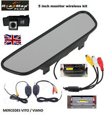 "mercedes vito viano wireless 5"" mirror rear reverse reversing camera kit  053"