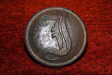 """Confederate States Script """"I"""" button Rec. Near Chancellorsville Battlefield in V"""