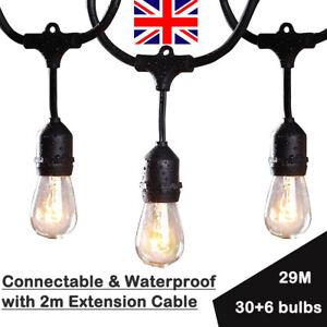 29 Metres 30 Sockets Outdoor Waterproof Festoon String Lights Pergola Tree Fence