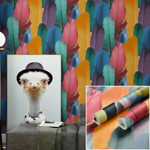10M Art Abstract Colorful Blue Feathers Waterproof Textured PVC Wallpaper Roll
