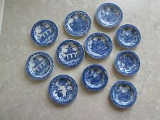 More details for antique lot of 11 - various  minature blue willow pattern plates