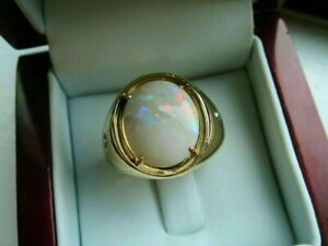 2CT Oval Fire Opal Diamond Male's Solitaire Engagement Ring 14K Yellow Gold Over