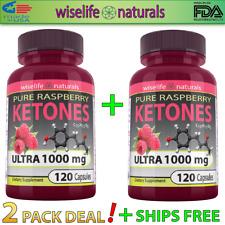 2X Raspberry Ketones Colon Cleanse 1000mg 120 caps Detox Lose Weight Fast Pills