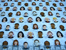 3 Yards Cotton Fabric - Camelot Star Trek Next Gen Portrait Circles White Gr