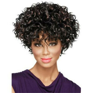 Fashion Afro Curly Short Wigs Bob Synthetic Hair Full Wig Black Women Party Wig