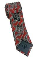 Jz Richards Luxury Neck Tie Thick 100% Silk Red Paisley Print