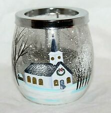 RARE Yankee Candle White Christmas Church Snow Crackle Glass Tealight Holder