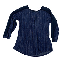 Lucky Brand Womens Navy Blue Long Sleeve Round Neck Pullover Blouse Top Size XS