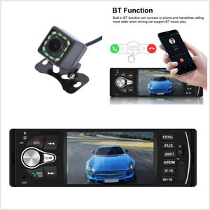 Car Stereo Radio MP5 Player 4.1in TFT Bluetooth 1 DIN USB FM AUX Audio+12LED Cam