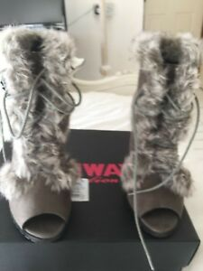 next grey fur peep toe boots, 5,