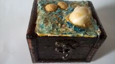 TREASURE CHEST  STYLE BOX WITH SEASHELLS ON LID PIRATE BEACH JEWELLERY TRINKETS